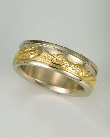 Reverse Range Ring®, 14kt. Yellow Gold mountains with 14kt. White Gold sky and borders.