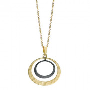 Recycled 14k Yellow gold and Oxidized Silver double Petite Eclipse necklace