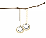 Recycled 14k Yellow gold and Oxidized Silver double Petite Eclipse earrings