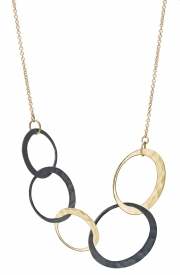 Recycled 14k Yellow gold and Oxidized Silver Eclipse necklace