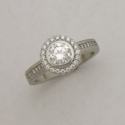 14karat White gold Halo Engagement ring with side Diamonds