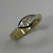 18k Yellow gold ring with Marquise Diamond in Platinum full bezel