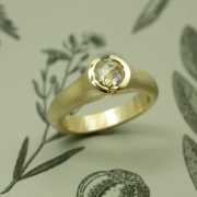 18karat Hammered Yellow gold ring with Rose cut Diamond