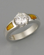 Engagement Ring 3-3: Round cut diamond prong set in platinum with Carnelian inlay