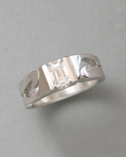Engagement Ring 8-5: 14kt. white gold emerald cut diamond engagement ring