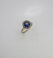 10k Yellow gold, Synthetic Sapphire and Rose Cut Diamond ring. Circa 1900