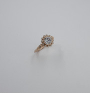 14k Rose gold Vintage Inspired bezel Halo Ring