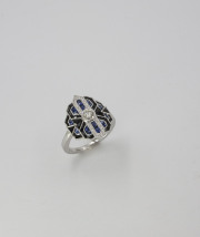 14k White gold Diamond, Sapphire _ Onyx Vintage Inspired Ring