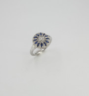 14k White gold Diamond _ Sapphire Vintage Inspired Ring