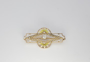 14k Yellow gold, Enamel, Cultured Pearl _ Diamond Art Nouveau Brooch. Circa 1900(1)