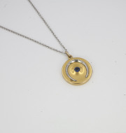 14k Yellow gold Locket with Platinum Horseshoe _ Sapphire. Circa 1910