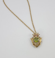 14k Yellow gold Peridot, Diamond _ Lab Created Ruby Pendant. Circa 1900