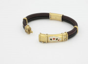 18k Yellow gold, Leather, Enamel _ Diamond Gambling Bracelet. Circa 1920(2)