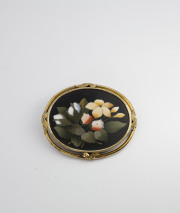 18k Yellow gold Pietra Dura Brooch Circa 1890