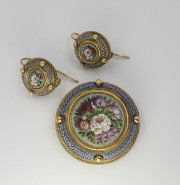 18k Yellow gold Vatican Micro-Mosaic Glass Brooch _ Earring Set