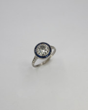 Platinum_Iridium Old European cut Diamond _ Sapphire Ring, Circa 1920