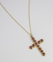 Vintage 14k Yellow gold _ Pink Tourmaline Cross Pendant