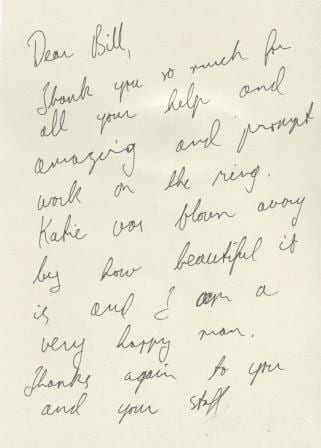 Handwritten thank you note - Boulder Jewelry - Cronin Jewelers